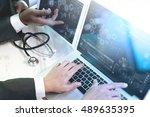 medical technology network team ... | Shutterstock . vector #489635395