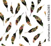 feathers seamless pattern  t... | Shutterstock .eps vector #489636385