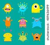 monster big set. cute cartoon... | Shutterstock .eps vector #489636499