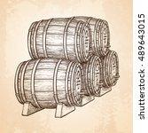 wine or beer barrels. hand... | Shutterstock .eps vector #489643015