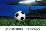 soccer ball on green grass and... | Shutterstock . vector #48964303