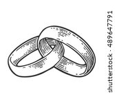 wedding rings. hand drawn in a... | Shutterstock .eps vector #489647791