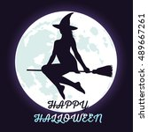 silhouette of halloween witch... | Shutterstock .eps vector #489667261