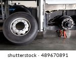 bus spare wheel tire waiting to ... | Shutterstock . vector #489670891