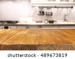 table in kitchen of retro chic... | Shutterstock . vector #489673819