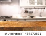 table in kitchen of retro chic... | Shutterstock . vector #489673831