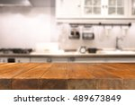 table in kitchen of retro chic... | Shutterstock . vector #489673849