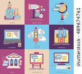 flat vector icons. business and ... | Shutterstock .eps vector #489674761