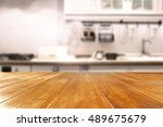 wooden table of free space and... | Shutterstock . vector #489675679