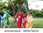 superheroes cheerful kids... | Shutterstock . vector #489676054