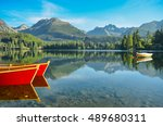 red boats on beautiful clear... | Shutterstock . vector #489680311