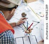 architect engineer blueprint... | Shutterstock . vector #489681289
