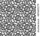 zentangle abstract flower.... | Shutterstock .eps vector #489685279