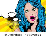 pop art excited woman with... | Shutterstock .eps vector #489690511