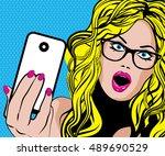 pop art excited woman. vector... | Shutterstock .eps vector #489690529
