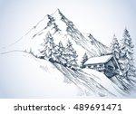 winter landscape in the... | Shutterstock .eps vector #489691471