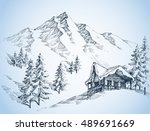 nature in the mountains sketch  ... | Shutterstock .eps vector #489691669