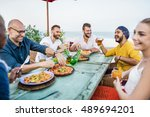 people relaxation beach rest... | Shutterstock . vector #489694201