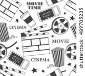 collection of cinema symbols... | Shutterstock .eps vector #489705235