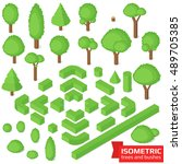 isometric trees  hedge and... | Shutterstock .eps vector #489705385