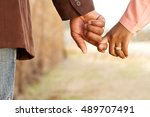 close up of a happy couple... | Shutterstock . vector #489707491