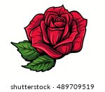 Stock vector red rose cartoon style on white background 489709519