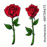 Red Rose Cartoon Style On Whit...