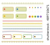 stitch line and frame set  ...   Shutterstock .eps vector #489710671