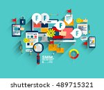 one page web banner flat line... | Shutterstock .eps vector #489715321