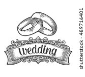 wedding rings with lettering.... | Shutterstock .eps vector #489716401