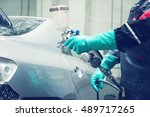 spray gun with paint for... | Shutterstock . vector #489717265