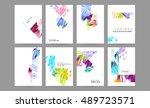 trendy watercolor vector... | Shutterstock .eps vector #489723571