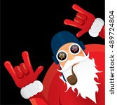 vector rock n roll santa claus... | Shutterstock .eps vector #489724804