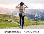 young traveler woman   with... | Shutterstock . vector #489724915