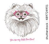 girl pomeranian illustration... | Shutterstock .eps vector #489724951