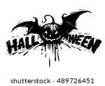 happy halloween party greeting... | Shutterstock .eps vector #489726451