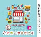 online shopping concept. mobile ... | Shutterstock .eps vector #489727681