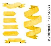 set of yellow watercolor... | Shutterstock . vector #489727711