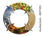 Four-arrow circle with superimposed images representing four seasons of the year - stock photo