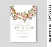 romantic pink peony bouquet... | Shutterstock .eps vector #489735331