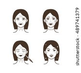 woman face before and after... | Shutterstock .eps vector #489741379