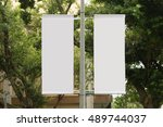 large blank billboard on a... | Shutterstock . vector #489744037