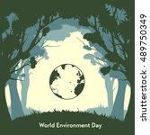 flat  vector. world environment ... | Shutterstock .eps vector #489750349