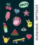 set of  patches elements. ... | Shutterstock .eps vector #489753115