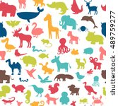 Stock vector seamless pattern with colored animals silhouettes cute background vector illustration 489759277