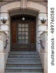 wooden door | Shutterstock . vector #489760585