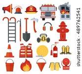 set of fire equipment. vector... | Shutterstock .eps vector #489762541