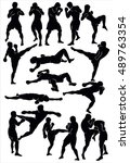 silhouette of the thai boxing.... | Shutterstock .eps vector #489763354