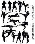 silhouette of the thai boxing....   Shutterstock .eps vector #489763354