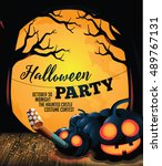 halloween party background with ... | Shutterstock .eps vector #489767131